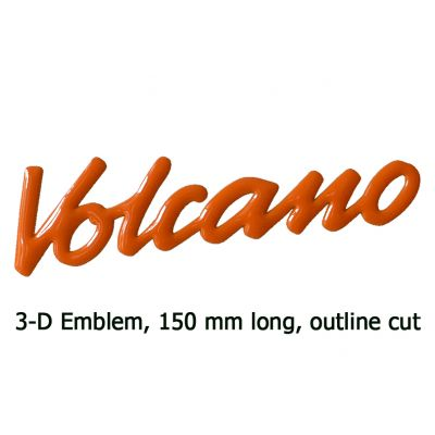 3-D Emblem VOLCANO, 6 inch (150 mm), outline cut
